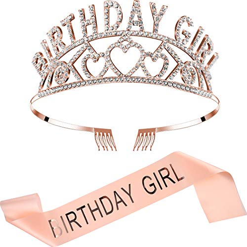 Chengu Birthday Glitter Crown Girl Rhinestone Crystal Decor Headband with Birthday Beautiful Girl Sash (Rose Gold Set)