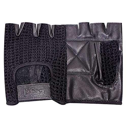 Prime Leather Guantes para Ciclismo de Cuero y Malla con Medios Dedos para Entrenamiento, Gimnasio - Antideslizante - Acrílico, Chica, H.F. Negro-Negro