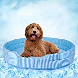 Pet Soft Dog Cool Mat - Dog Cooling Mat 2021 Newest Summer, Ice Silk Cooling Pads Bed for Cats Dogs, Washable Cool Mattress for Puppies (Blue, L)