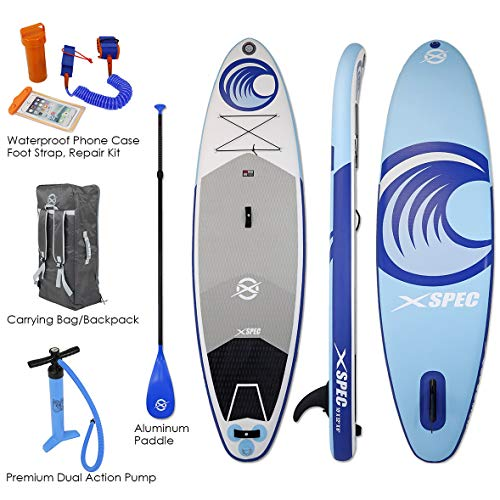 Xspec Inflatable Stand Up Paddle Board with Premium SUP Accessories & Carry Bag |Non-Slip Wide Stance Top Deck | with Waterproof Phone Case, Foot Strap, Repair Kit, Pump & Paddle, 10'x32 x10, Blue &