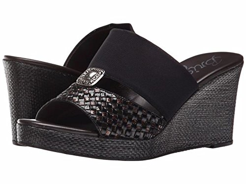 Brighton Delta Black and Brown Leather Weave Wedge Sandal (6M)