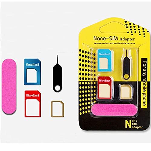 STILL-SN daptador de Tarjeta SIM, 5-en-1 Nano para Adaptador de Tarjeta SIM Nano y Micro SIM Kit de Tarjeta Convertidor con Herramientas Polaco Chip y Expulsar Aguja