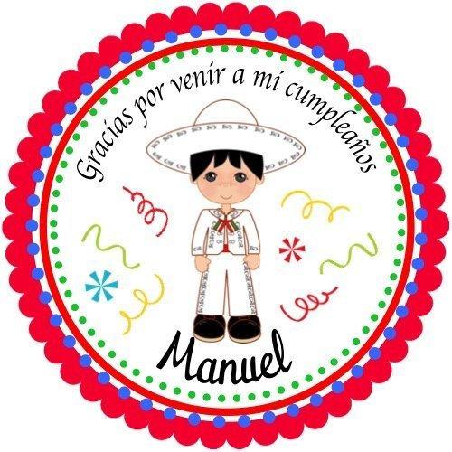 Singing Mexican Girl Personalized Party labels Hang Tags Choice of Size 40 Mexican Fiesta Personalized Birthday Stickers 2 round Cupcake Toppers