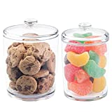 mDesign Plastic Kitchen Countertop, Pantry Food Canister Jar with Lid - Holds Candy, Gum Balls, Cookies, Chocolate Chips, Rice, Flour, Brown Sugar, Baking Supplies - Set of 2, Varied Sizes - Clear