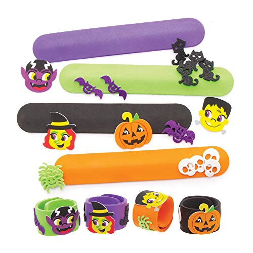 Baker Ross AW902 Halloween Snap-On Bracelet Kits for Kids Arts and Crafts to Dress Up for Trick Or Treating, Partys, Gifting and More (Pack of 4), Assorted