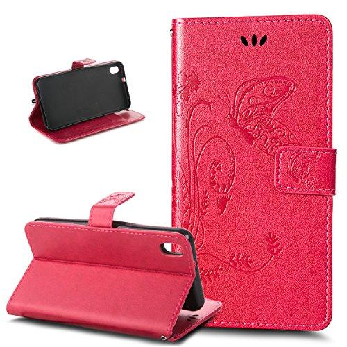 Kompatibel mit HTC Desire 816 Hülle,HTC Desire 816 Schutzhülle,Prägung Groß Schmetterling Blumen PU Lederhülle Flip Hülle Ständer Karten Slot Wallet Tasche Hülle Schutzhülle für HTC Desire 816,Rose Red