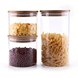 ComSaf Glass Storage Jars with Lids Set of 3 - High Borosilicate Glass Airtight Kitchen Food Canister Cylinder Clear Preserving Seal Containers with Bamboo Lid Canning Cereal Spice (500/600/1200ML)