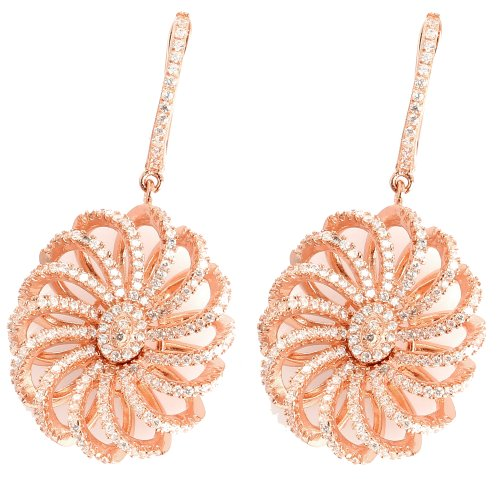 Damen Ohrhänger Blume - Silber 925er Rosé Gold beschichtet mit Zirkonia Steinen - HSE.RG02