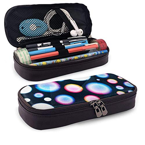 XCNGG Estuche para lápices neceser Colored Circle Seamless Pattern with Grunge EffectLeather Pencil case, Waterproof, Fashionable and Durable, can be Used for Students, Schools, Offices, Colleges