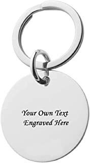 Custom Engraved Stainless Steel Keychain Round. Great Gift for Men/Father's Day/Lovers