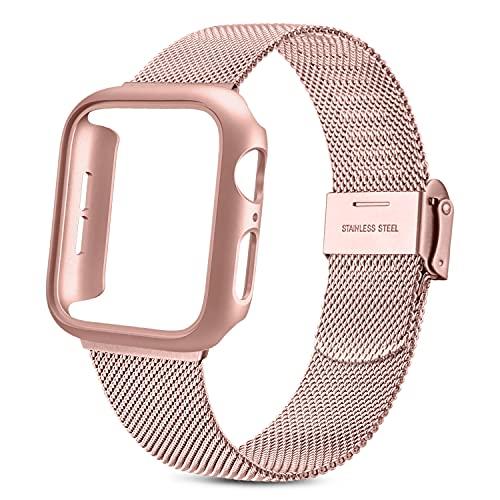 NAGAO Correa y Funda Compatible con Apple Watch 40mm 44mm,Estuche sin Protector de Pantalla,Pulseras Repuesto Metal Acero Inoxidable para iWatch Series SE 6 5 4(44mm,Correa Rosa+Oro Rosa)