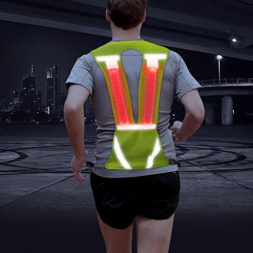Vizpet Reflective Running Vest Led Safety Vest with Adjustable Waist & Large Pocket Night Light High Visibility for Jogging Biking Motorcycle Walking (Green Vertical)