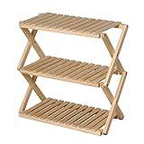 コーナン オリジナル コーナンラック 折り畳み式木製ラック3段 ワイドタイプ(約幅60X奥行30X高さ59cm)