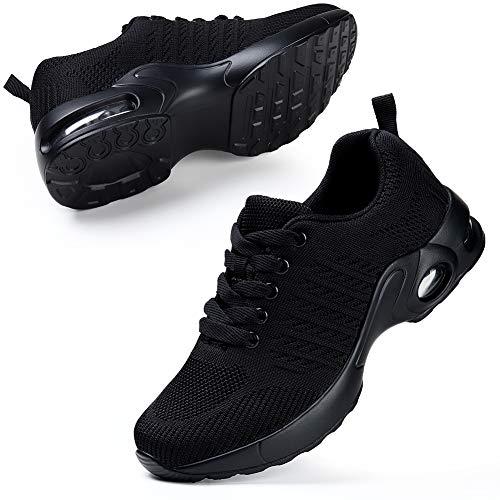 STQ Laufschuhe Damen Sneaker Freizeit Atmungsaktiv Leichtgewichts Sportschuhe Straßenlaufschuhe für Fitness Gym Walkingschuhe(Alles schwarz 40 EU)