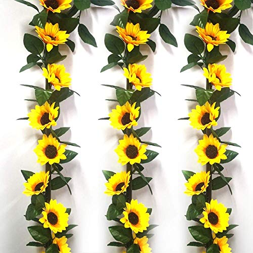 CHUTD 3 Pcs Artificial Sunflower Hanging Garland Wreath Yellow Sunflower Floral Door Wreath for Front Door Indoor Wall Wedding Home Decoration