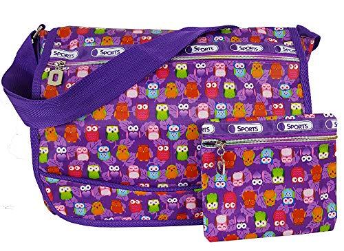 GFM® Glücklich Tasche für Damen und Mädchen - Umhängetasche Schultertasche für Schule, Urlaub, Strand, Fitnessstudio (6212) (Eule - violett (Mot-JMN))