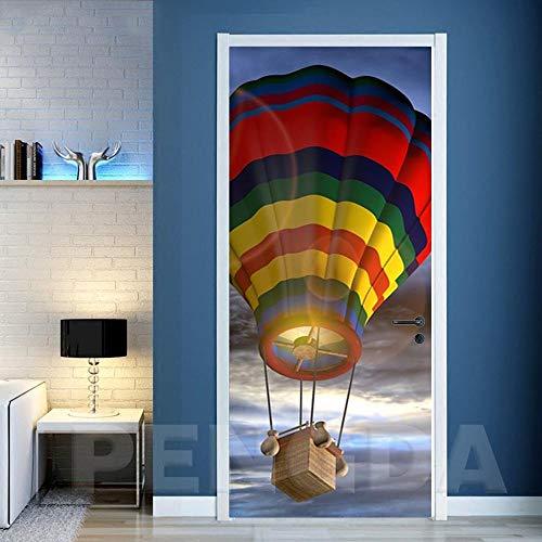 Smhchh Etiqueta De La Puerta 3D Globo Aerostático Papel Tapiz Carteles Pegatinas De Pared para Dormitorio, Cuarto De Niños, Arte Moderno Decoraciones.88X200Cm