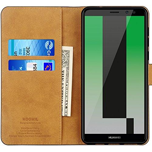 HOOMIL für Huawei Mate 10 Lite Hülle, Handyhülle für Huawei Mate 10 Lite, Premium PU Leder Tasche Flip Schutzhülle für Huawei Mate 10 Lite Smartphone, Schwarz - 2