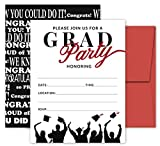 25 Red & Black Graduation Party Invitations with Envelopes for College, High School, University Grad Celebration or Announcement- Invite Cards Fill In Style- 2021 Party Decorations Supplies