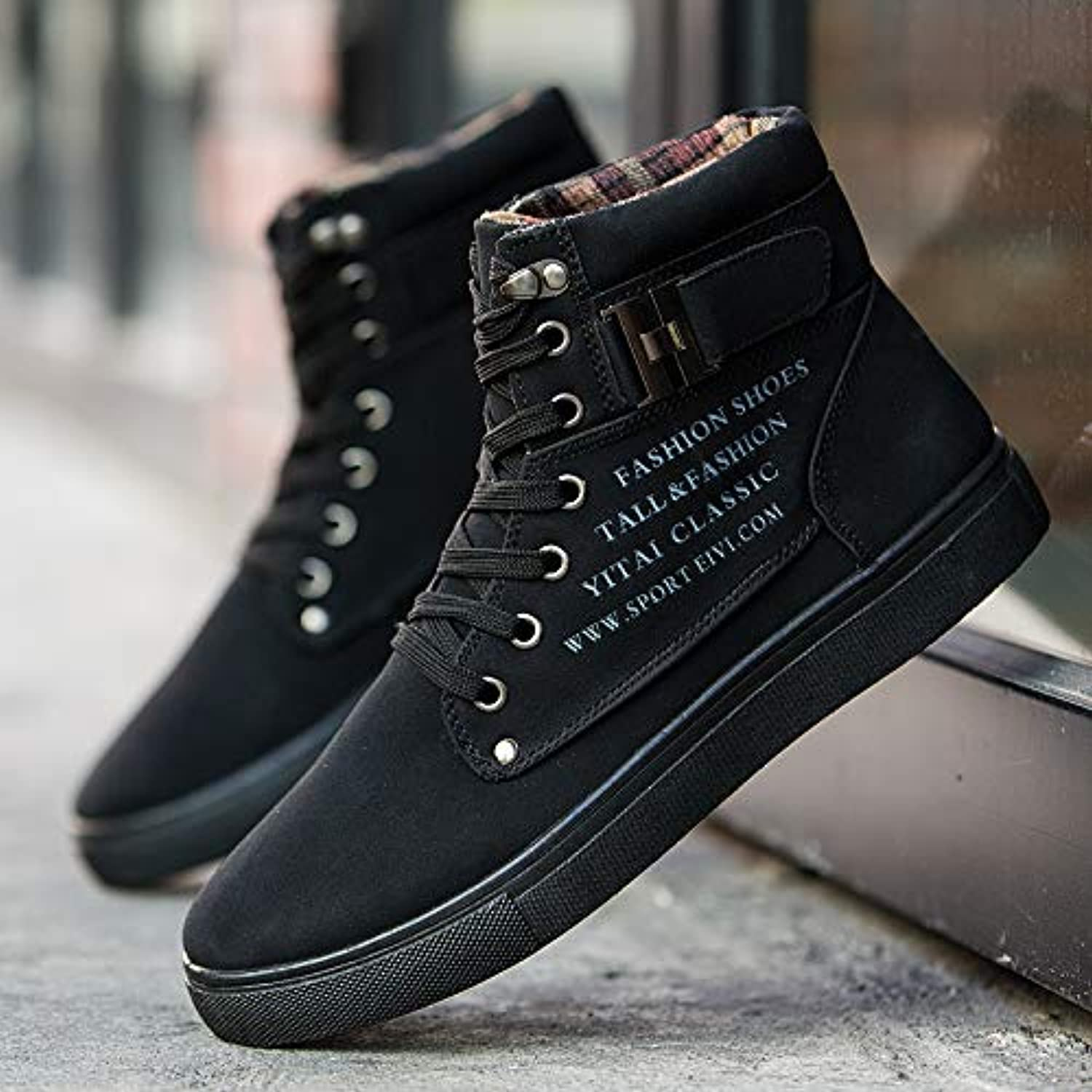 LOVDRAM Men'S shoes Autumn And Winter Fashion Leather Fashion High Men'S shoes Large Size 46 Yards Retro Casual Men'S Boots
