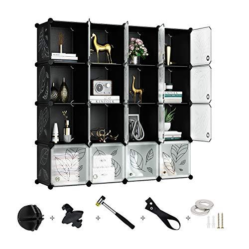 Greenstell 16 Cubos Organizadores para Almacenamiento con Puertas, Estantes de Plástico Apilables DIY, Multifuncionales, Modulares, Estantería de Armario para Libros, Ropa(Negro&Blanco)