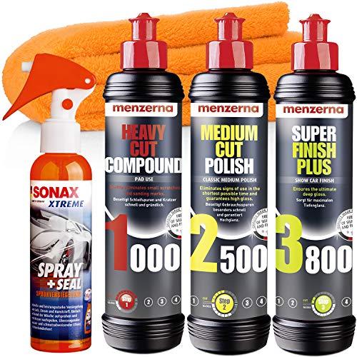 detailmate Menzerna Auto Polituren Set: Menzerna Heavy Cut Compound 1000 + Medium Cut Compound 2500 + Super Finish Plus 3800 + SONAX Spray+Seal Mikrofasertuch 40x40cm, 550GSM orange
