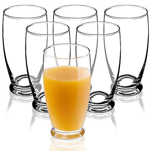 KADAX Wassergläser, Set von 6, Trinkgläser, Saftgläser aus Glas, robuste Gläser für Wasser, Saft, Garten, Party, Drink, Bier, Universalgläser, Cocktailgläser, Getränkegläser (Resi, 350ml)