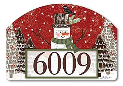 Yard DeSigns Studio M Woodsy Snowman Fall/Winter Decorative Address Marker Yard Sign Magnet, Made in USA, Superior Weather Durability, 14 x 10 Inches