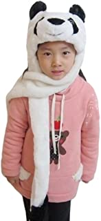 Cartoon Animal Hood Hoodie Hat with Attached Scarf and Mittens