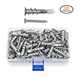 JUIDINTO Zinc Drywall Anchors with Screws Self Drilling Hollow Wall Anchors M4.2 Tapping Screws Assortment Kit,120 pcs