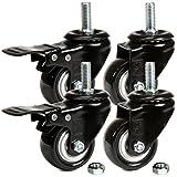 H&S Ruedas giratorias para muebles con ruedas giratorias de goma de PU de alta resistencia con frenos Negro