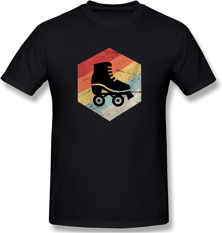 Retro 70s Roller Skating Men's T-Shirts Short-Sleeve Crew Neck T Classic Tops Casual Shirt