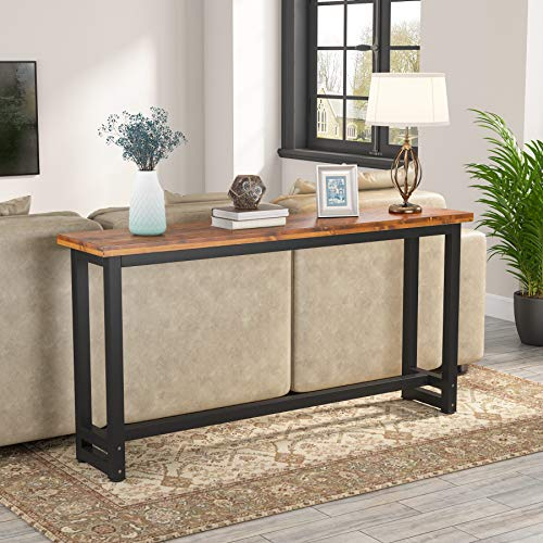 Tribesigns 70.9 Inches Extra Long Industrial Sofa Table, Wood Behind Couch Table, Rustic Console Table for Living Room & Entryway, Narrow Pub Bar Table for Home, 70.9L x 15.74W x 35.82H in