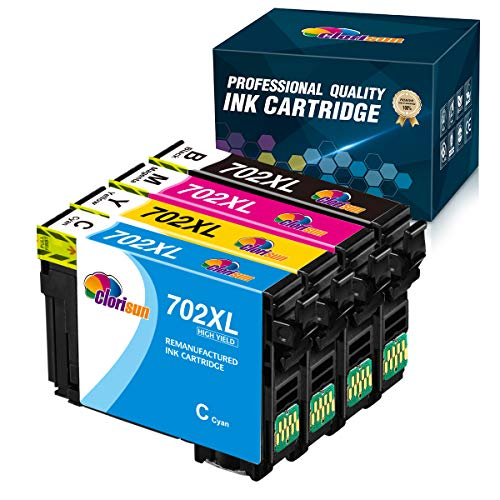 Price comparison product image Clorisun Remanufactured Ink Cartridge Replacement for Epson T702XL 702 XL 702XL,  High Yield to use with Epson Workforce Pro WF-3720 WF-3733 WF-3730 Printer (Black,  Cyan,  Magenta,  Yellow) 4-Pack