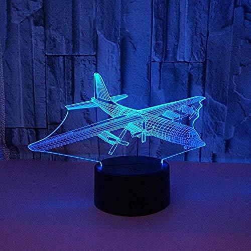 Cartoon Personages Vervoer Vliegtuig 3D Nachtlampje 7 Kleur Schakelaar Kleine Kleur Licht Sfeer Licht Gift Slaapkamer Licht Creatieve Animatie Lamp