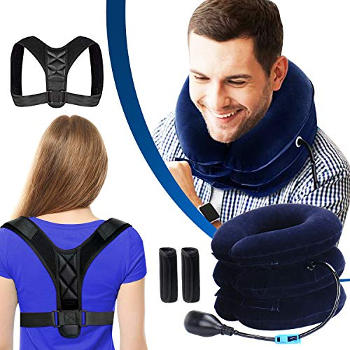 Posture Corrector for Men and Women & Inflatable Cervical Neck Traction Device- Adjustable Upper neck stretcher & Back Brace for Clavicle Support and Providing Shoulder & Neck Pain Relief