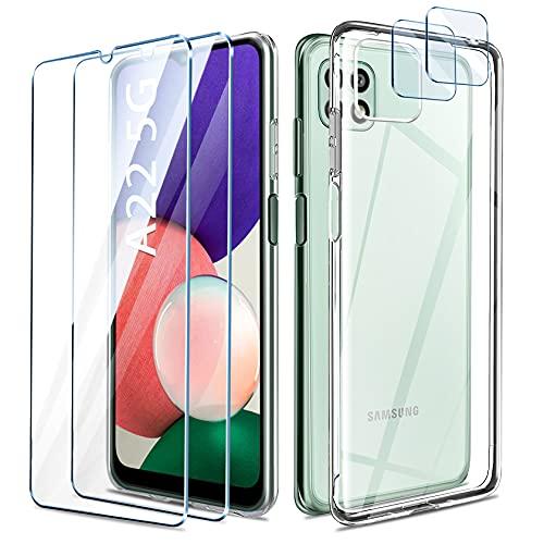 AROYI Funda Compatible con Samsung Galaxy A22 5G, 2 Piezas película Protectora de Vidrio Templado 2 Piezas Vidrio para cámara, Funda Protectora Transparente a Prueba de Golpes ultradelgada TPU Anti