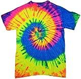 Tie Dyes Men's Tie Dyed Performance Short Sleeve T-Shirt H1000 Spiral-neon Raindow-Large