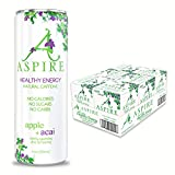 ASPIRE Healthy Energy Drink – Apple Acai, 24 Pack – Zero Sugar, Calories or Carbs – Keto, Vegan, Kosher – Contains Natural Caffeine, Vitamins B & C - No Jitters or Crash – 12oz Cans