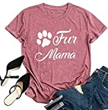 Womens Love Paw Short Sleeve T-Shirt Dog Mom Funny Tees Letters Print O-Neck Casual Summer Tops Shirt (Pink-2, Large)