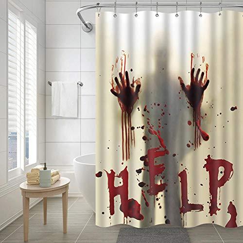 Duschvorhang 3D-Druck Markanter Blutiger Duschvorhang, Blutbad Hilf Mir Duschvorhang Langer Duschvorhang Mit 12 Haken Polyestergewebe Für Badezimmer, Verschiedene Größen