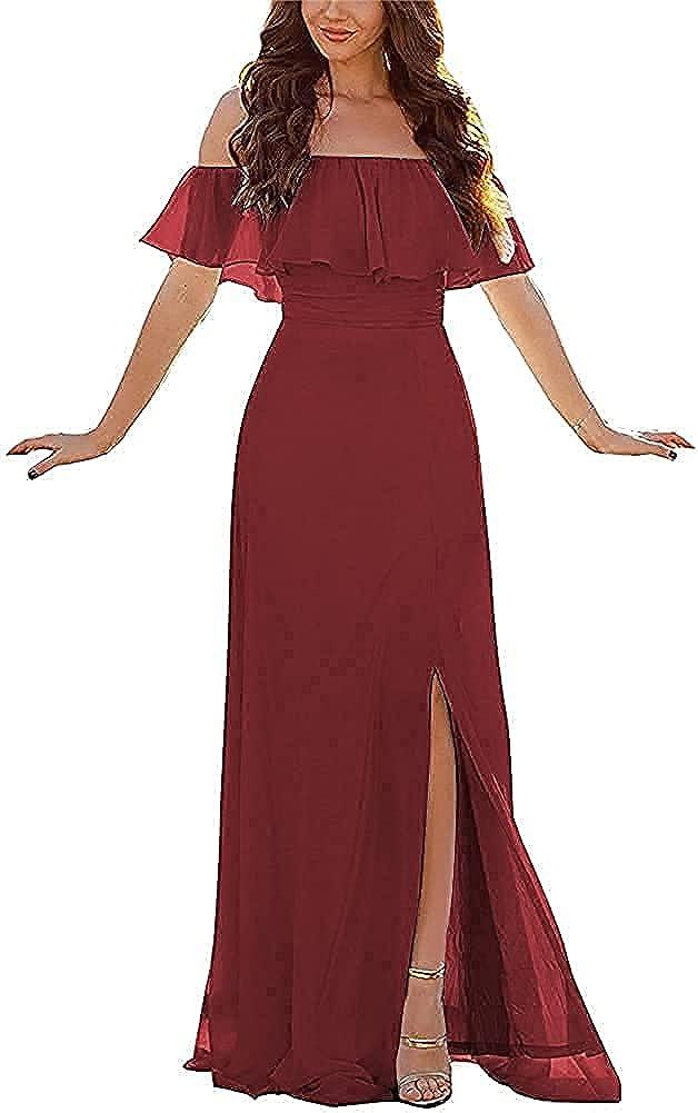 UHEGDRR Long Bridesmaid Dresses Ruffle Off Shoulder Slit Prom Gown