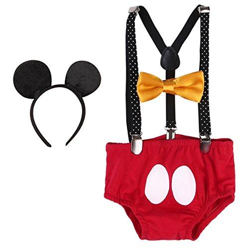 Baby Mickey Mouse 1./2./3. Geburtstag Halloween Kostüm Outfit Unterhose+Fliege+Y-Form Hosenträger+Maus Ohren 4pcs Bekleidungssets Fotoshooting Kostüm für Unisex Jungen Mädchen 0094 Rot 12-18 Monate