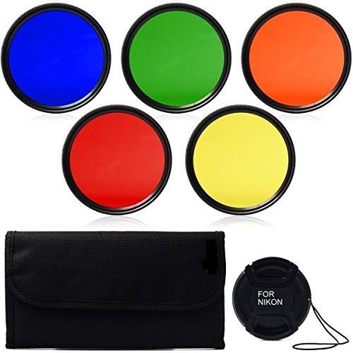 SHOPEE BRANDED 67mm Color Filter Set Lens Accessory Filter Kit Blue Yellow Orange Red Green + Lens Cap + 6 slot Case For for Canon 7D 700D 600D 70D 60D 650D 550D for Nikon D7100 D80 D90 D7000 D5200 D3200 D5100 D3200 D5300 DSLR Cameras FOR canon 17-85mm f/4-5.6 IS EF-S and 18-135mm f/3.5-5.6 IS Lenses ,for Nikon 18-135mm 18-105mm 18-70mm 16-85mm 35mm Lenses