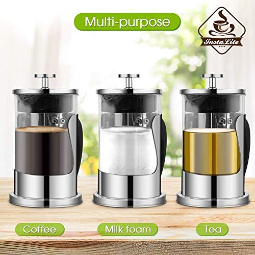 Instalite French Press Coffee Maker (600 ml) with 4 Level Filtration System - 304 Grade Stainless Steel - Heat Resistant Borosilicate Glass