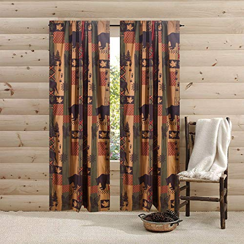 How Plumb 84-in. Southwest Rustic Bear Cabin Lodge 2-Panel Pair Window Curtains Rod Pocket Drapes for Bedroom and Living Room, Brown Green Red
