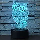 Owl 3D Illusion Night Light Birthday Gift Lamp - 7 Colors Gradual Changing Touch Switch Table Lamps Xmas Decoration LED Lights with Acrylic Flat & ABS Base & USB Cable