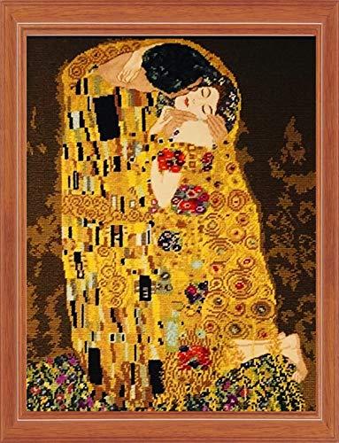 KAMIERFA Kit per Punto Croce Prestampato Punto Croce Kit,Ricamare Fai da Te Kit da Ricamo Completo per Principianti,Famoso Dipinto Bacio 40x50cm