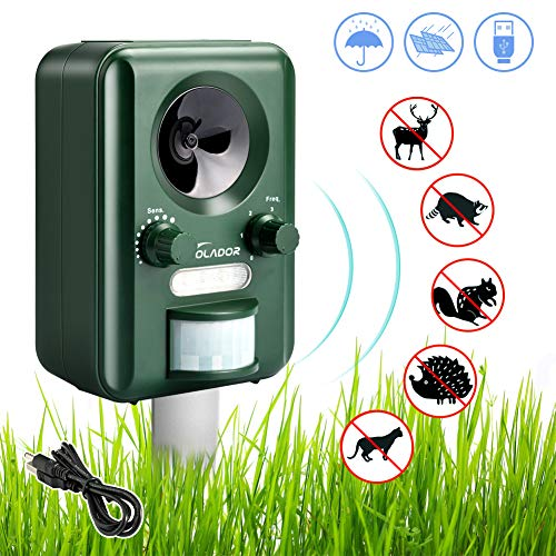VOLADOR Animal Repellent, Waterproof Ultrasonic Cat Fox Repeller, Solar USB Powered Pet Dog Deterrent, Rabbit Rat Scare for Garden Yard Field Farm