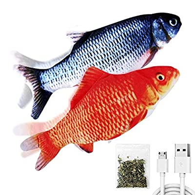 "TOOGE 2 Pack 11"" Electric Moving Fish Cat Toy Realistic Interactive Flopping Fish Cat Kicker Catnip Toys for Indoor Cats Pets Kitten (red)"